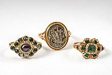 Three historical gold rings. 1) Cluster ring set