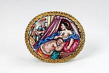 A gilt mount enamel plaque depicting Samson and