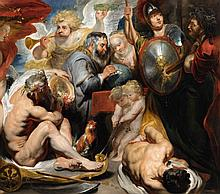Jacob Jordaens, attributed to, Allegory of the Sciences: Minerva and Chronos Protecting the Sciences against Envy and Ignorance