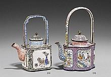 A Canton enamel on copper wine pot. 18th/19th century