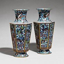 A pair of cloisonné enamel vases. Late 19th century