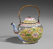 A Canton painted enamel on copper tea kettle. Mid 18th century