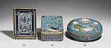 A cloisonné enamel lidded box. 20th century