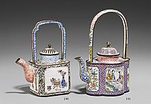 A Canton enamel on copper wine pot. 18th century