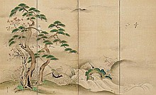 A six-panel screen by Shôkai. 19th century