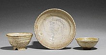 A group of three bowls with a thick white crackled glaze. 19th century