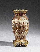 A Satsuma vase with ormolu mounting. Late 19th century