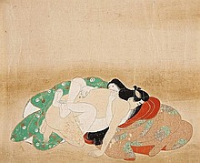 Three shunga paintings. 18th/early 19th century