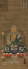 A hanging scroll depicting a Buddhist nun. Early Edo period