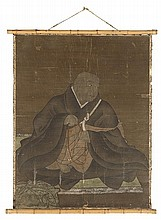 A hanging scroll depicting a Buddhist monk. Edo period