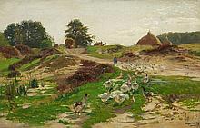 Hugo Mühlig, Landscape with a Goosegirl