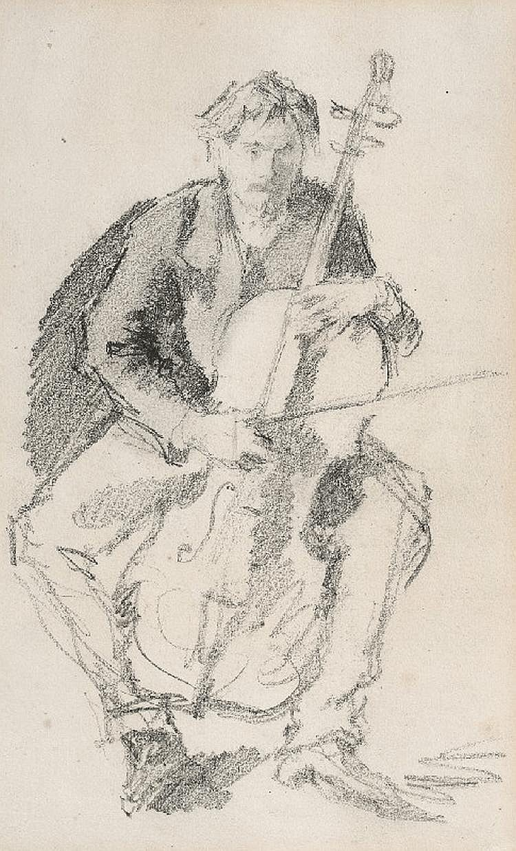 CELLO PLAYERSTUDY OF A CONCERT (verso)