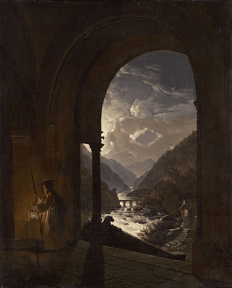 A MONK IN A MONASTRY WITH VIEW ON A BECK IN THE MOONLIGHT