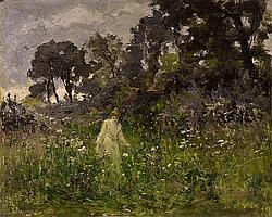 LANDSCAPE WITH YOUNG WOMAN
