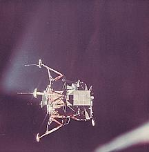 NASA, Lunar module viewed from the command and service modules, Apollo 11, 1969