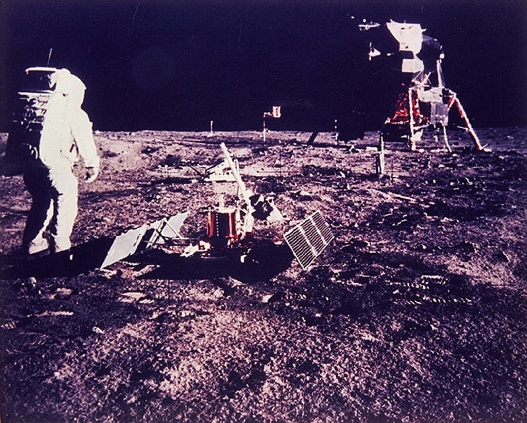 NASA, Aldrin walks toward LR-3 and lunar module, Apollo 11, 1969