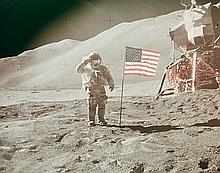 NASA, Astronaut David R. Scott saluting beside U.S. flag, Apllo 15, 1971
