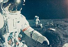 NASA, Astronaut Alan Shepard, foreground, walks toward MET during first extravehicular activity, Apollo 14, 1971
