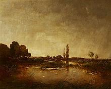Toni (Anton) von Stadler, Panoramic Landscape with a Farmstead