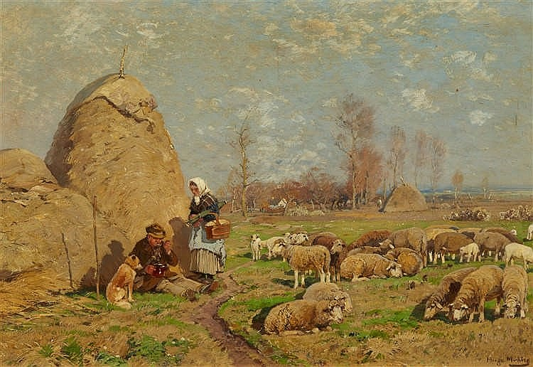 Hugo Mühlig, Summer Landscape with a Peasant Couple and Sheep