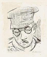 Max Beckmann, Mann mit Ballonmütze und Brille, 1919