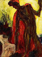Christian Rohlfs, Tänzerin mit rotem Schal (Weiblicher Negerakt im roten Mantel), 1912