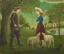 André Bauchant, La demande en mariage (Couple de paysan avec des moutons), 1924