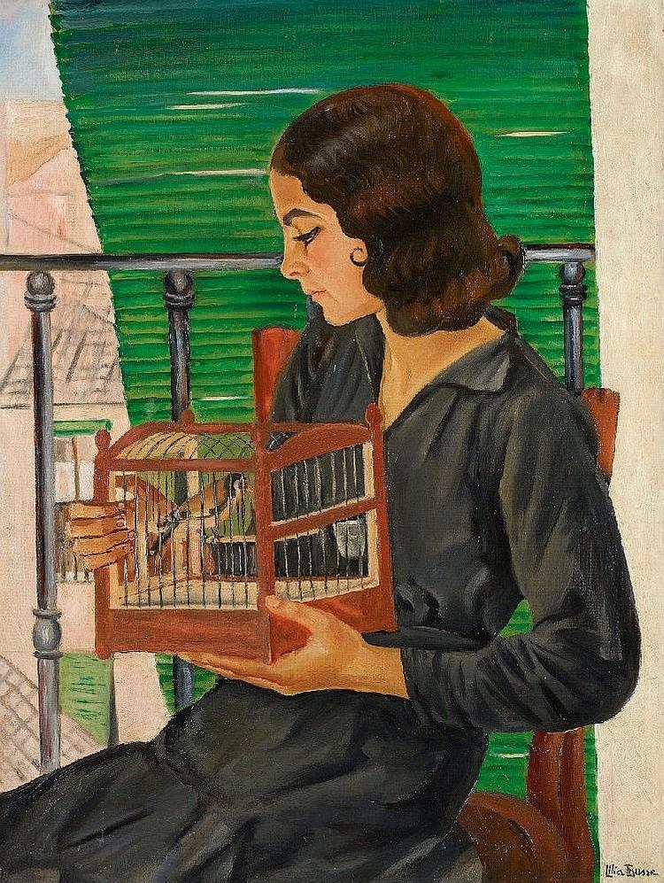 Lilia (Luise) Busse, Spanisches Mädchen mit Stieglitz, Circa 1930 - 1936