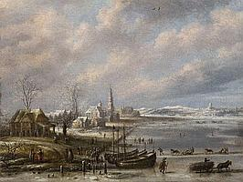 DANIEL VAN HEIL, WINTER LANDSCAPE WITH FROZEN CANAL