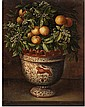 TOMÁS YEPES, A PAINTED CERAMIC VASE WITH AN ORANGE TREE