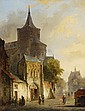 CORNELIS SPRINGER, VIEW OF A MEDIEAVAL TOWN WITH CHURCH