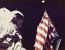 NASA, Harrison H. Schmitt next to the United States flag, Apollo 17,  1972