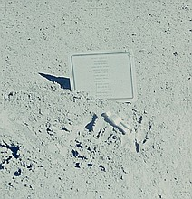 NASA, Commemorative plaque left on the moon in memory of 14 NASA astronauts and   USSR cosmonauts, Apollo 15,  1971