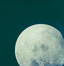 NASA, Bright lunar disc, spacecraft recedes from moon towards earth, Apollo 13,  1970