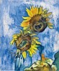 HEINRICH NAUEN, Zwei Sonnenblumen vor blauem Grund (Two Sunflowers before Blue Sky), Heinrich Nauen, Click for value