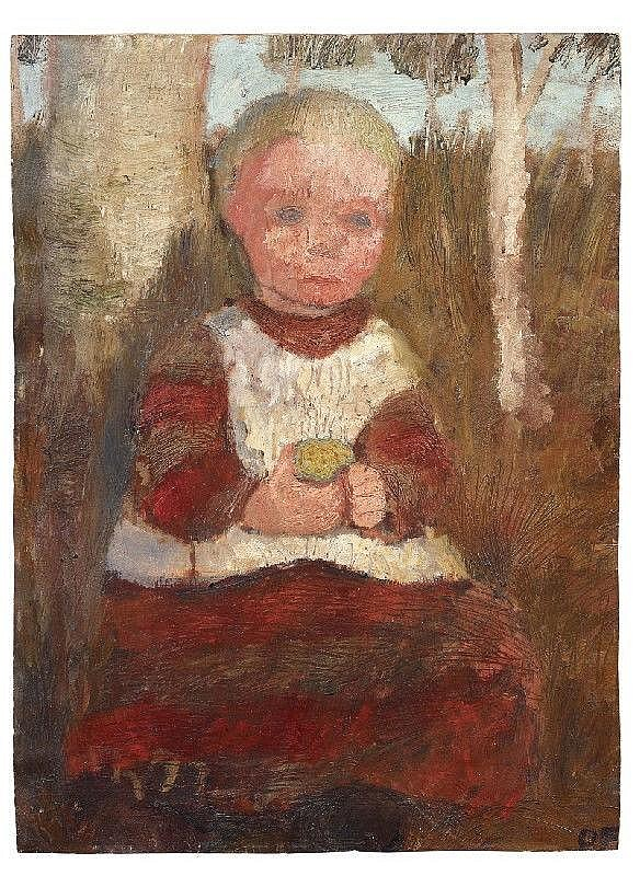 PAULA MODERSOHN-BECKER, Sitzendes Kind an einer Birke: Kind mit Frucht (Child Sitting next to Birch Tree: Child with Fruit). Verso: Bauernmädchen am Hang vor wolkigem Himmel (Peasant Girl on Hillside against Cloudy Sky)
