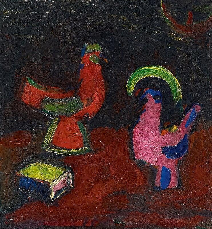 HERMANN STENNER, Stilleben mit Tierfiguren und einem Buch - Hahn, Henne und Schachtel (Still-Life with Animal Figures and a Book - Cock, Hen and Box)