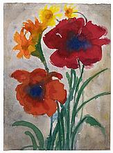 Emil Nolde, Roter Mohn (Mohnblumen, Iris und Sonnenhut),