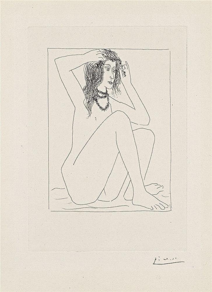 Pablo Picasso, Femme nue se couronnant de Fleurs, 1930