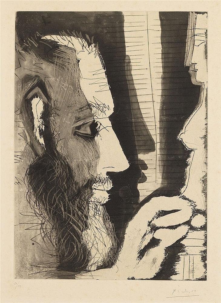 Pablo Picasso, Sculpteur travaillant à un buste de femme I, 1965