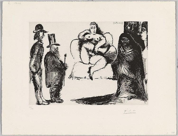 Pablo Picasso, Célestine, Maya ou Olympia nue, avec Manet et Marcellin Desboutin; Couple de Spectateurs au deuxième Plan, 1968