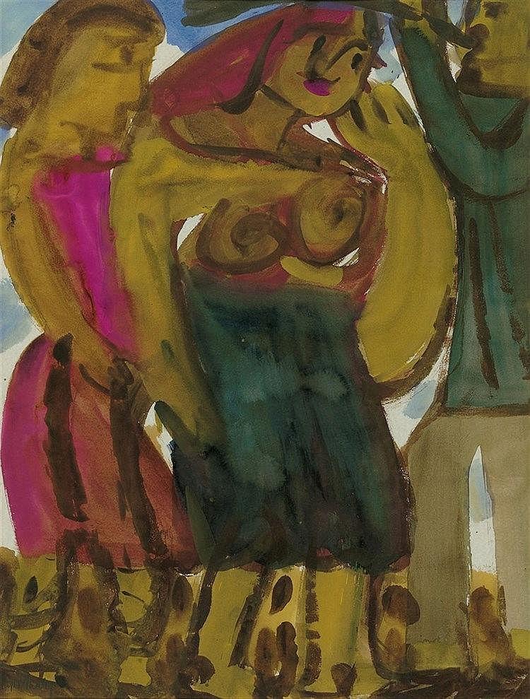 Hap Grieshaber, Figürliche Szene mit Bläser, 1960s