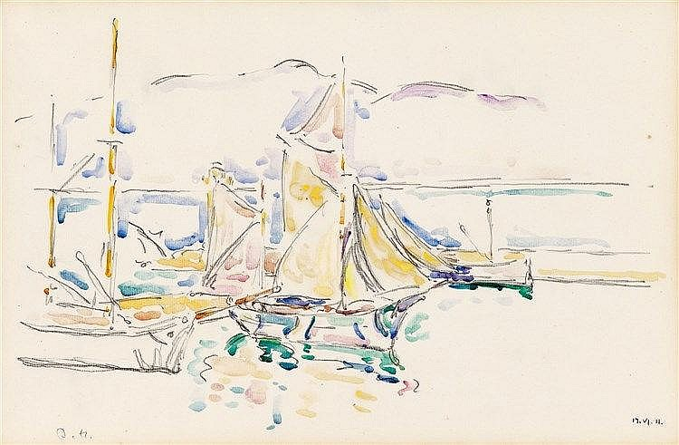 Ivo Hauptmann, Steg mit Segelbooten, 1911
