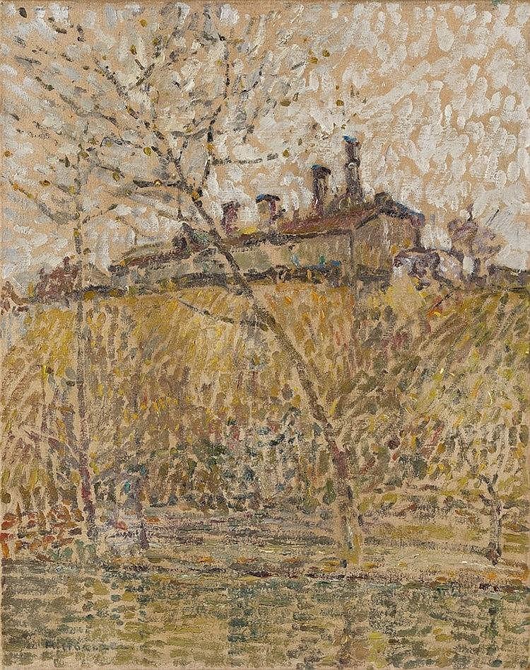 Adolf Hölzel, Landschaft (Nebliger Morgen, Fabrik), Circa 1904