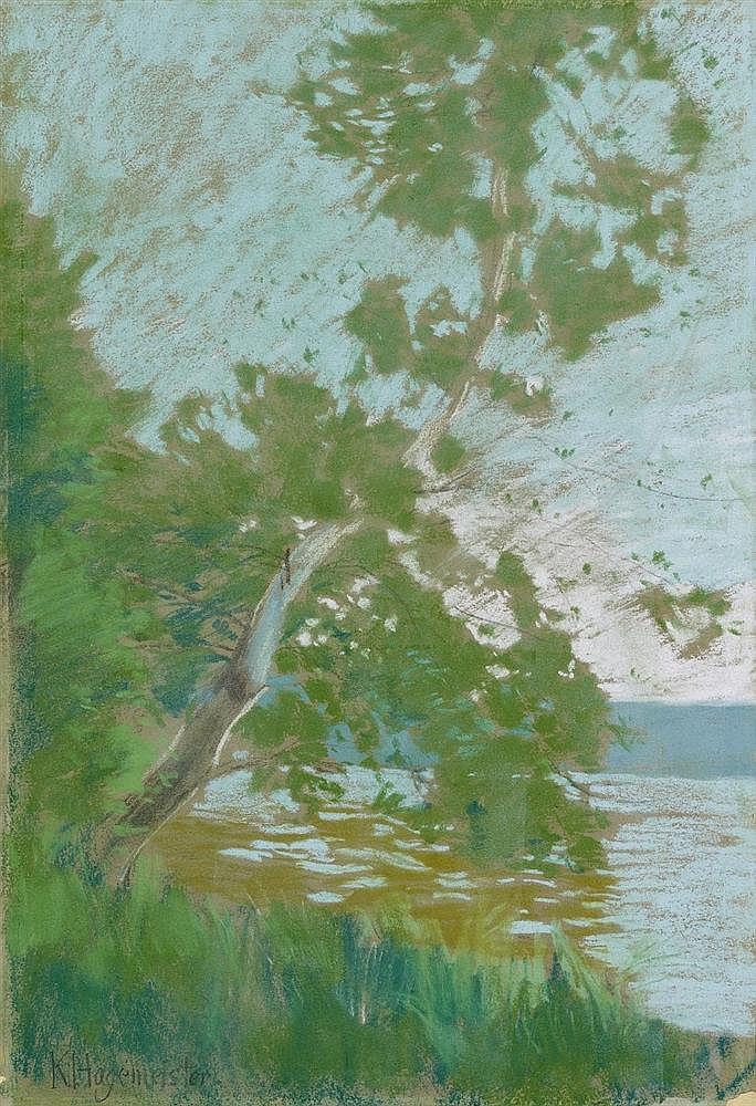 Karl Hagemeister, Märkische Uferlandschaft. Märkische Seenlandschaft mit Birke, Circa 1895/1898