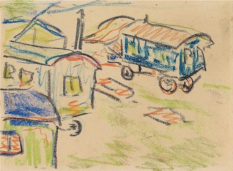 Ernst Ludwig Kirchner, Zigeunerwagen, Circa 1914/1915