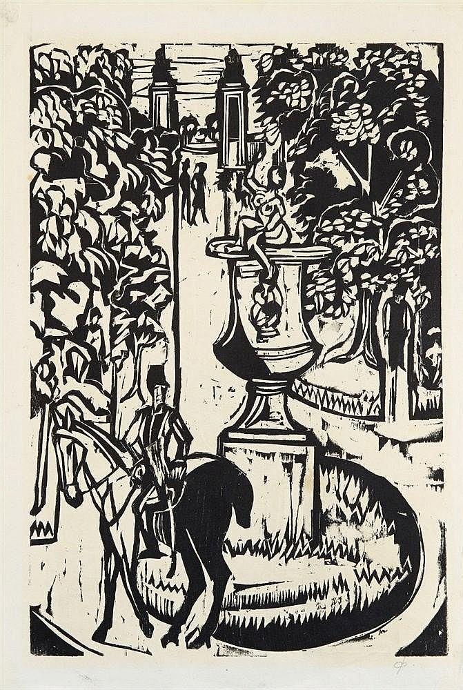 Ernst Ludwig Kirchner, Hauptallee im grossen Garten, Dresden. Verso: Mutter und Sohn (Probedruck), 1927