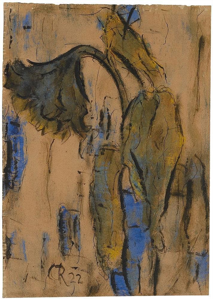 Christian Rohlfs, Welkende Sonnenblumen mit Blau, 1922