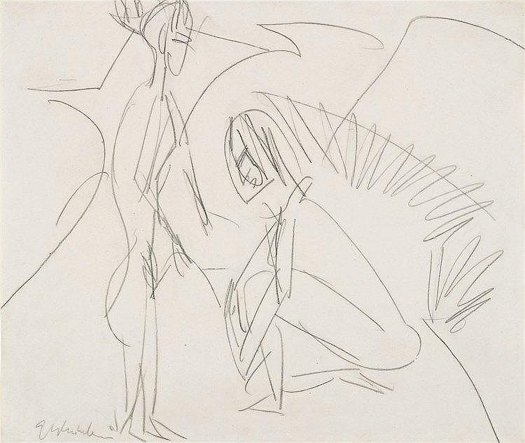 Ernst Ludwig Kirchner, Badende in den Dünen, Circa 1912