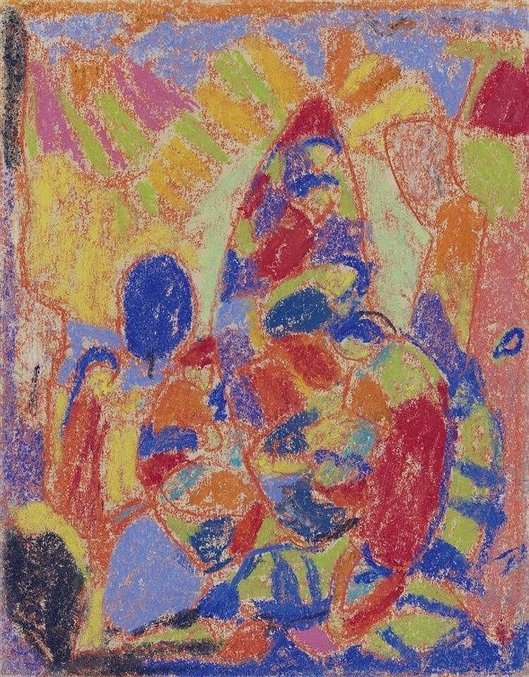 Adolf Hölzel, Untitled (Anbetungsgruppe), Circa 1925-1930
